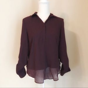 Lila Rose Purple Sheer Blouse Size S